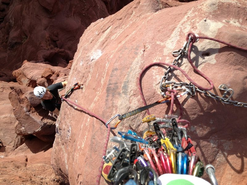 Belay at the top of P3. http://rjohnasay.blogspot.com/2012/12/moab-utah-fisher-towers-ancient-art_8.html