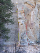 Rock Climbing Photo: Yellow is Hands of Fire and Ice, red is a possible...