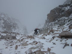 Rock Climbing Photo: Billy moving up through the spindrift