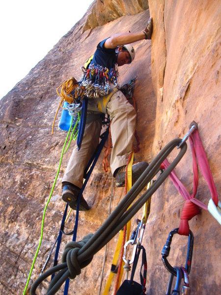 Rock Climbing Photo: Leading pitch 4
