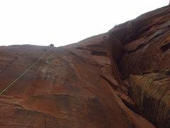 Rock Climbing Photo: Damian high on pitch 4 of SpaceShot