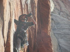 Rock Climbing Photo: Drinkin beer while leading the final pitch in good...