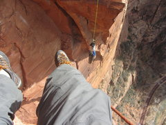 Rock Climbing Photo: Dangling under the roof after the big swing on Spa...