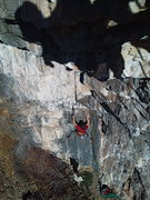 Rock Climbing Photo: Drew nearing the no hands rest before the steep st...