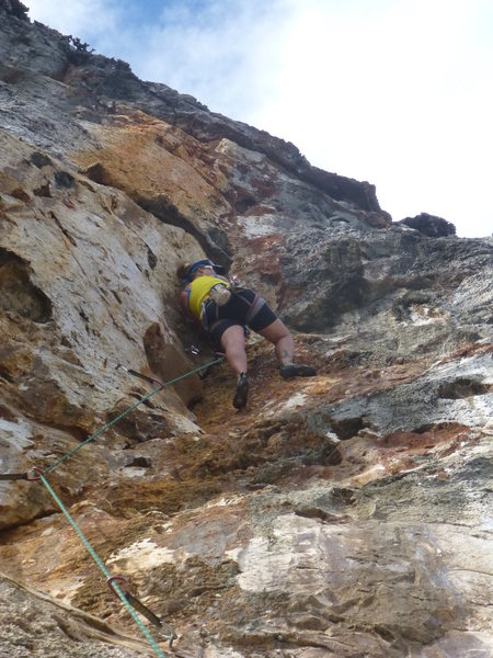 Rock Climbing Photo: Brandi laying back to the anchors of Orange Streak...