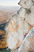 Rock Climbing Photo: Climber leading the stellar Pitch 2 finger crack o...