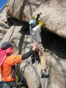 Rock Climbing Photo: 1st bolt and the crux of Nubbing Up Roses.