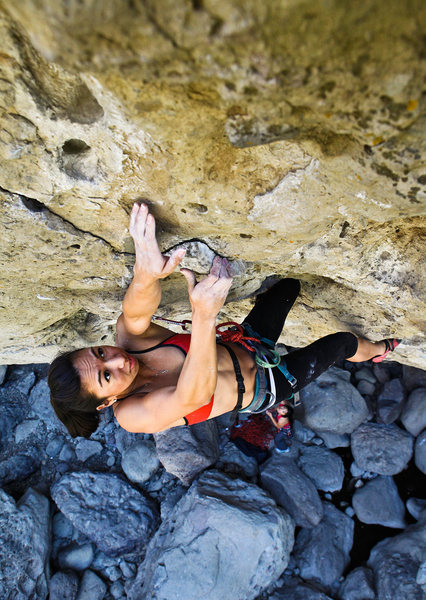 California Climber Magazine - Winter 2012 - Issue No. 3<br> <br> Natalie Duran crossing over to a large just before the anchors on Johnny Can't Lead (11a)<br> <br> Malibu Creek State Park<br> <br> Image + Anthony Lapomardo