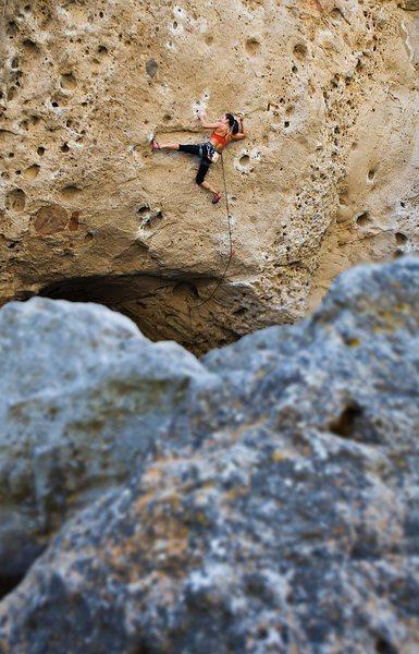 California Climber Magazine - Winter 2012 - Issue No. 3<br> <br> Natalie Duran poised on Urban Struggle (5.12b)<br> <br> Malibu Creek State Park<br> <br> Image + Anthony Lapomardo