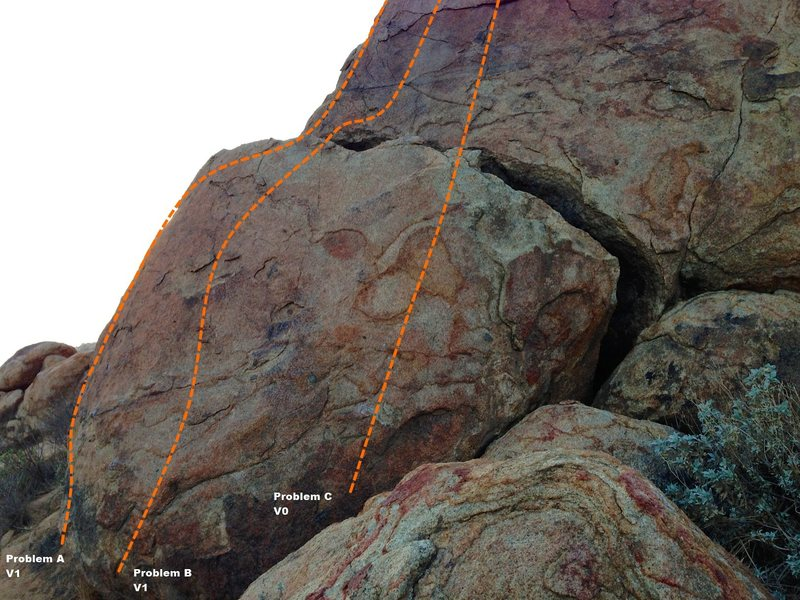 Rock Climbing Photo: Trail Side Boulder 5 - Left Topo