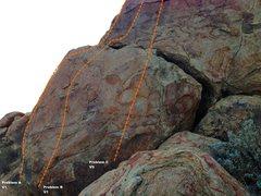 Rock Climbing Photo: Trail Side Boulder 5 - Left Topo