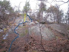 Rock Climbing Photo: Upper slab. Blue line is Schist a side and The yel...