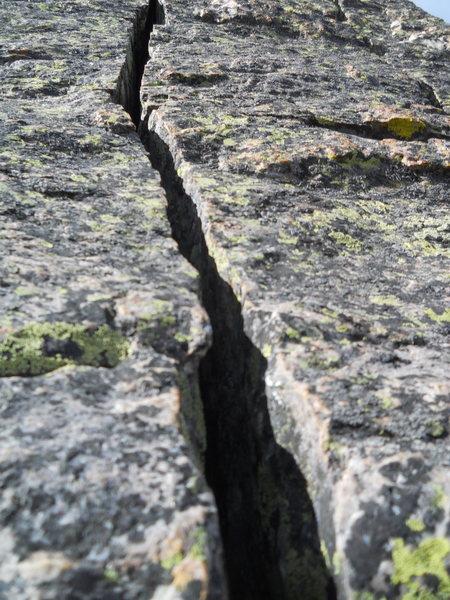 Beautiful crack high on the Wham ridge