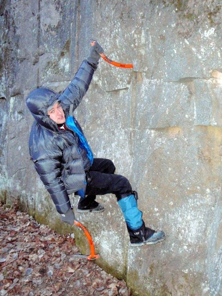 Rock Climbing Photo: Dimples stein pull.