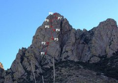 Rock Climbing Photo: We found great belay ledges for P3 about 60' too e...
