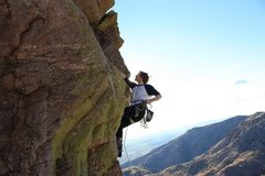 Rock Climbing Photo: clipping just before the crux move