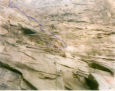 Rock Climbing Photo: The blue line it shows direction of route but has ...