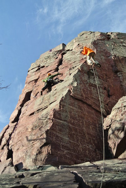 Rock Climbing Photo: Rudy leads Brinton's for the first time (I think)....