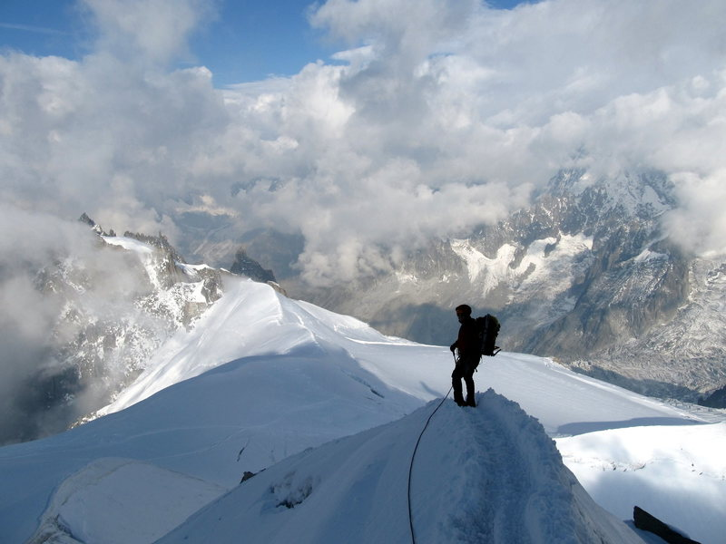 Descending the knife edge ridge on Aiguille du Midi, Sept. 2012