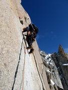 Rock Climbing Photo: Crux pitch of Cosmique Arete,  Aiguille du Midi  S...