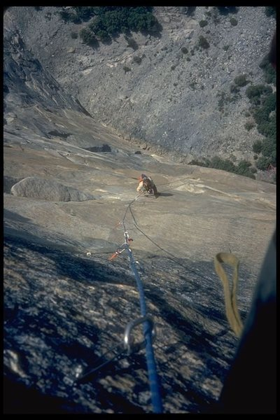 Third ascent of Tangerine Trip, final rivit pitches.