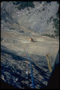 Rock Climbing Photo: Third ascent of Tangerine Trip, final rivit pitche...