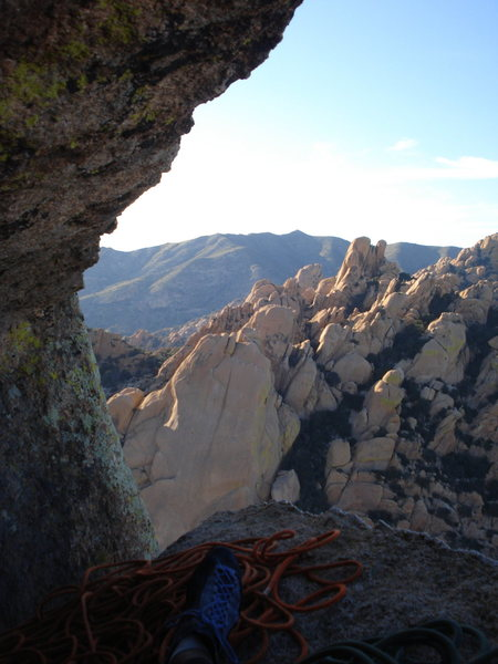 Awesome belay atop the friendly flake