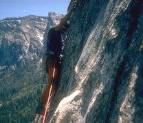 Rock Climbing Photo: Dave Black, crux DNB, 1974,check out the Kronhofer...