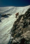 Rock Climbing Photo: Steve Eddy, 1975, N Face above rock band near summ...