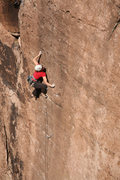 Rock Climbing Photo: Megan Arzt scrimping and thumb catching lightly up...