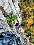 Rock Climbing Photo: Kyle on crux of Beesting Corner 5.7