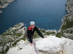 Rock Climbing Photo: Topping out Arête des Raisins