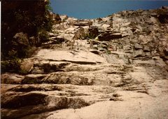 Rock Climbing Photo: The best part of this climb is lined in blue. The ...