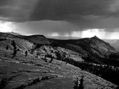 Rock Climbing Photo: Afternoon hail storm on top of Tenaya
