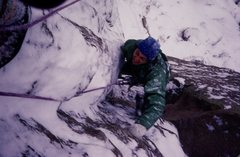 Rock Climbing Photo: Bruce Sposi on the Calypso route on the Wind Tower...