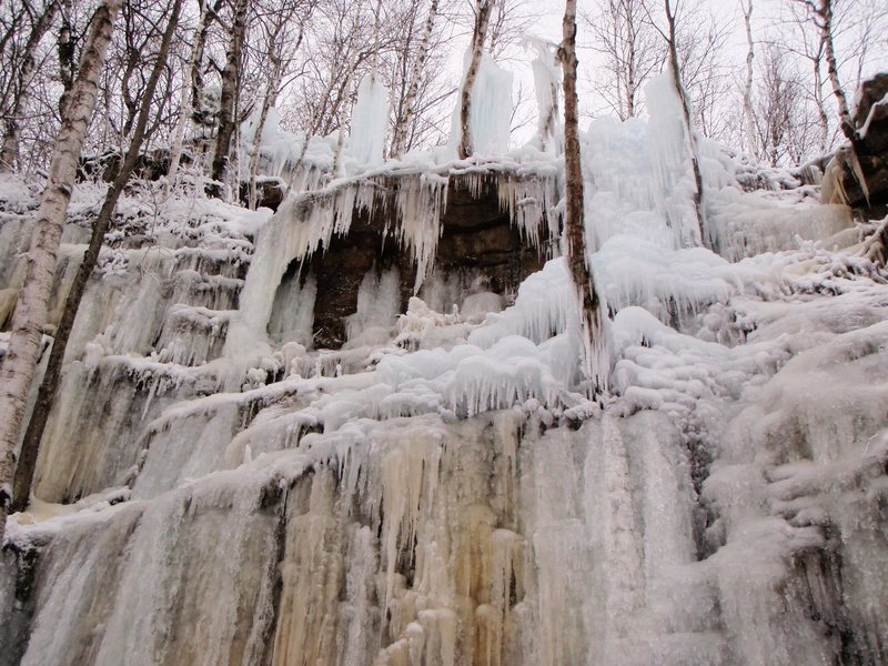 Ice conditions as of 12/12/12. This is the new area of the Sandstone Ice Park, which is closer to the entrance.
