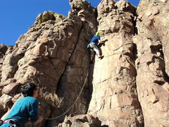 Rock Climbing Photo: Lou leads the dihedral variation.