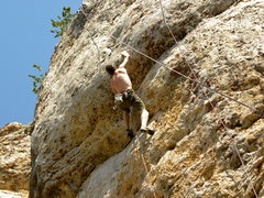 Rock Climbing Photo: Approaching the crux move on Daddy Fat Sacks 5.12b...