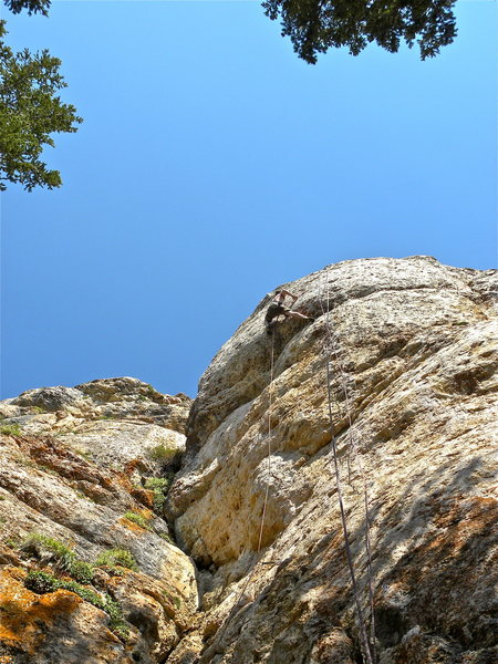 Rock Climbing Photo: Sticking the crux move for the FA at the end of Da...