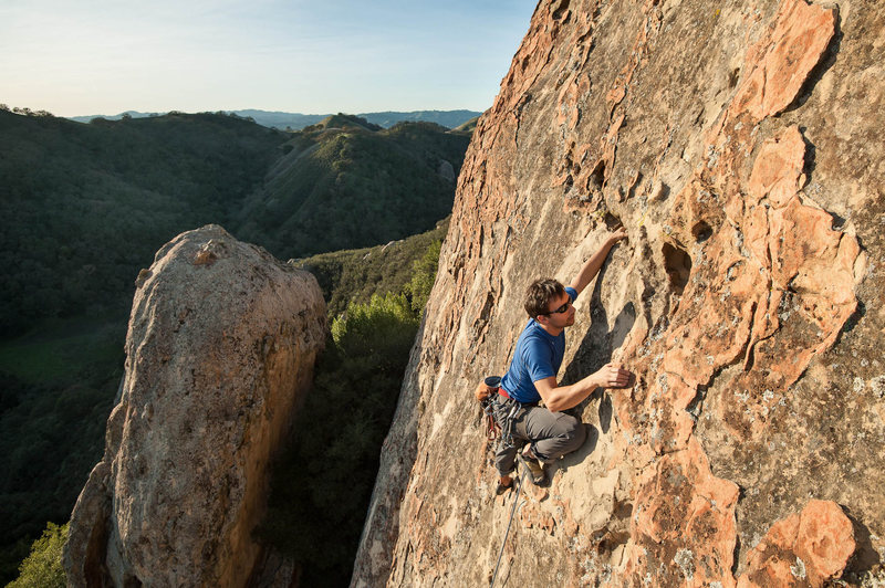Dimitri climbs Evolution 5.10b/c on Rock of Ages, Pine Canyon.