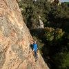 Dimitri climbs Evolution 5.10b/c.