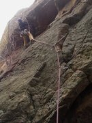 Rock Climbing Photo: Micah S. ponders the crux roof on his first attemp...