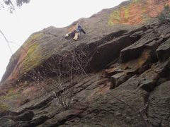 Rock Climbing Photo: Micah S. at the post-crux rest on the N. Buttress ...