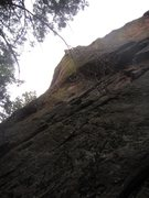 Rock Climbing Photo: Micah S. past the difficult gear placements post-c...