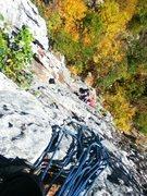 Rock Climbing Photo: Looking down to start of Beesting Corner 5.7