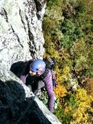 Rock Climbing Photo: Kyle Topping out on Beesting Corner 5.7