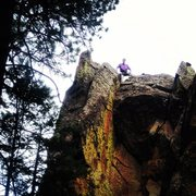 Rock Climbing Photo: Tony B atop the roof on Idly I De-Ice (5.9) after ...