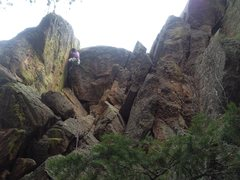 Rock Climbing Photo: Tony B on the FA of the big overhang on Idly I De-...