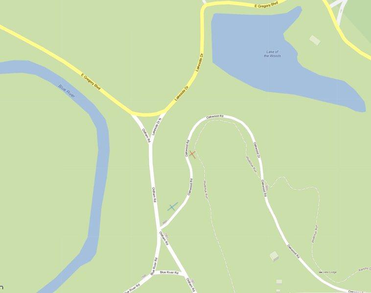 Rock Climbing Photo: Red X = boulder Blue X = parking