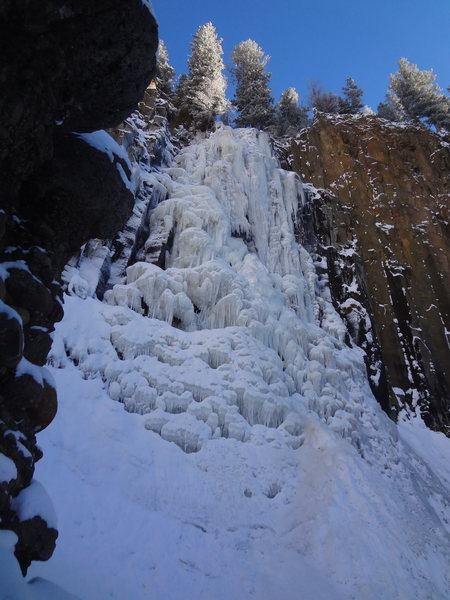 Palisade Falls Hyalite Canyon - Bozeman Ice Fest -Montana - Sunday Dec 9th, 2012. Photo by Jenna - We watched a guy take a 30 footer onto a stubby leading this - yikes!  He fell from just below the tree at top to ice ledge part way down.  He walked away.